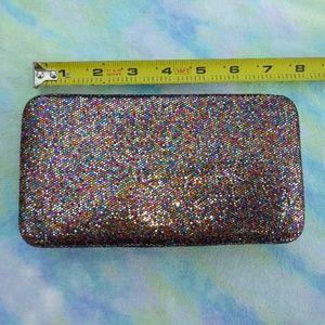 Hard Case Glitter Clutch